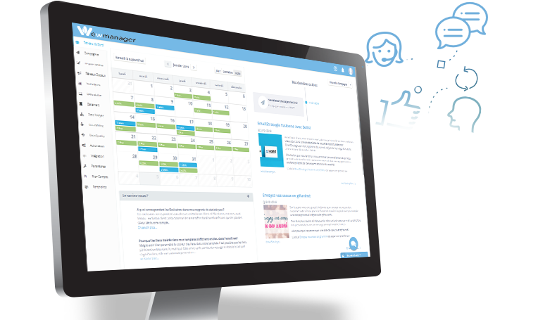 Interface de la plateforme marketing wewmanager